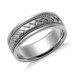 Elegant & Classic & Modern | Braided Wedding Ring 14k White Gold (7mm) | Jewelry for Men