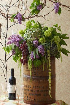 Chartreuse and purple flowers