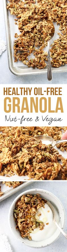This healthy granola recipe calls for just 6 ingredients and is super easy to prepare! Oil-free, nut-free, and gluten-free, it makes an easy vegan breakfast or snack on the go.