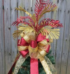 Christmas Tree Topper - Double Sided Tree Top Bow and Additional Tree Top Wildness - Red and Gold Christmas Decor