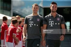 Manuel Neuer (L) and Sven Ulreich, goalkeepers of FC Bayern arrive for the Audi…
