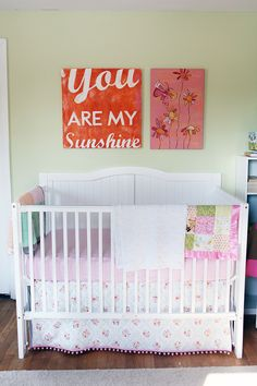 You are my sunshine and flower painting in baby girl nursery