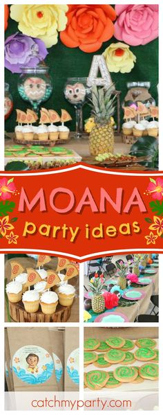 Don't miss this gorgeous Moana Birthday Pool Party. The canoe cupcakes are fantastic!! See more party ideas and share yours at CatchMyParty.com