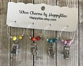 Airstream Wine Charms, Trailer Wine Charms, Camping Gift, Wine Charms, Glamping, Wine Glass Charm, Pull Trailer, RV, Camper, Trailer