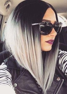 ▷ 50 + Ideen für Ombre Bob Frisur für alle Anlässe black and white ombre look big sunglasses, purple lipstick, leather jacket in the car Related posts: 50 Best Pixie And Bob Cut Hairstyle Ideas 2019 Angled Bob Haircuts, Bob Haircuts For Women, Long Bob Hairstyles, Short Haircuts, Bob Cuts For Women, Angled Haircut, Classic Hairstyles, Everyday Hairstyles, Celebrity Hairstyles