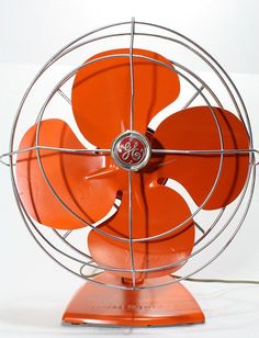 Refurished Vintage Retro General Electric Fan by FishboneDeco. An orange fan. Orange Is The New Black, Orange Yellow, Burnt Orange, Orange Color, Orange Oil, Orange Shades, Orange Poppy, Orange Zest, Vintage Fans