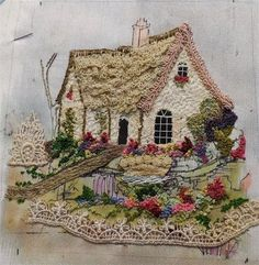 Ribbon Embroidery Flowers by Hand - Embroidery Patterns Silk Ribbon Embroidery, Crewel Embroidery, Cross Stitch Embroidery, Embroidery Patterns, Machine Embroidery, Garden Embroidery, Embroidered Lace, Crazy Quilting, Art Textile