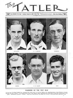 A bodyline Test Warriors 1933 Tatler magazine spread on the England cricketers of the infamous bodyline Ashes series