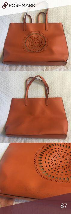 Neiman Marcus Orange Vinyl Tote Gently used, large tote bag. Neiman Marcus Bags Totes
