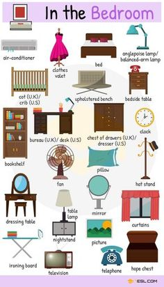 Furniture Vocabulary in English - bedroom