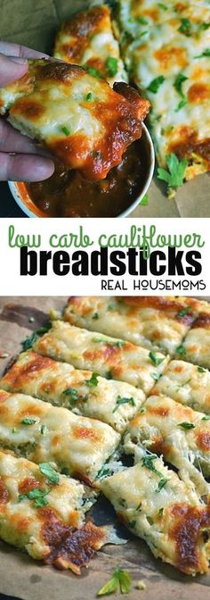 Low Carb Cauliflower Low Carb Cauliflower Breadsticks with fresh herbs, garlic & lots of ooey gooey cheese looks and tastes like cheesy bread! via Real Housemoms