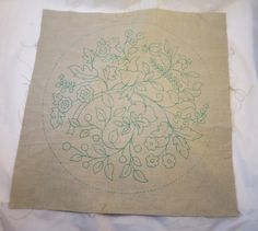 Vintage Crewel Linen Stamped Canvas Ready by BonniesVintageAttic