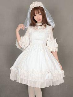 ロリータ結婚式ドレス ジャンパー スカートの白い砂糖のレースの弓姫半袖レース フリル ジャンパー スカートを