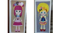 Painel  de feltro com  bonecas do shopinks.