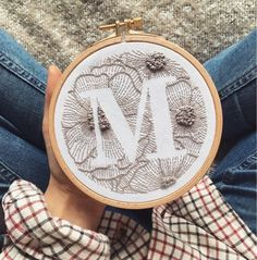 Personalized Hand Embroidery Monogram Hoop / Custom Initial Hand Stitched / Custom Letter Hand Embroidery / Embroidered Gift Wall decor by MoodyGreen on Etsy Embroidery Designs, Embroidery Monogram, Hand Embroidery Stitches, Cross Stitch Embroidery, Hand Stitching, Diy Embroidery, Knitting Stitches, Embroidery Techniques, Embroidered Gifts