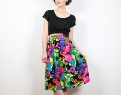 Vintage 80s Skirt Bright Black Rainbow Floral Print Midi Skirt 1980s Skirt Knee Length Skirt Mod New Wave High Waisted Skirt M L Large XL