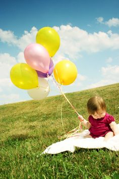 Colorful balloons and baby [explored] #color #white