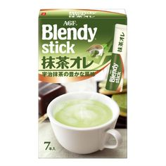 """(AGF) Blendy Matcha Au Lait Instant tea """"sticks"""" are all-in-one individually wrapped instant containers."""