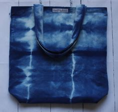hand dyed using natural indigo dye and shibori technique, Hilary Hope creates one of a kind tote bags handcrafted from repurposed (upcycled, recycled, or pre-loved) materials Shibori Techniques, Indigo Dye, Tote Bags, Repurposed, Natural, Busy Bags, Indigo, Tote Bag, Upcycling