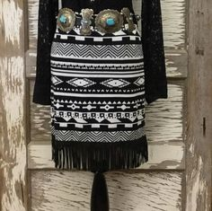 cowgirl chic western leather fringe skirt outfit - Google Search