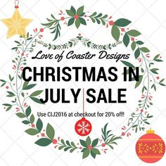 Valid now til July 31st - get 20% off everything in shop // offer valid on already discounted coasters www.etsy.com/shop/loveofcoasterdesigns