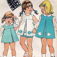 Simplicity 6866 1970s Girls Jumper Top and Panties toddlers vintage sewing pattern and fish and hook transfer for embroidery or applique by mbchills