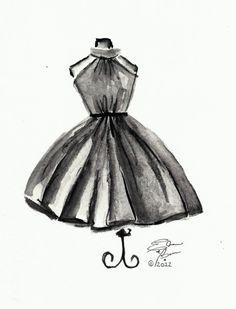 http://elainebiss.storenvy.com/products/891724-little-black-dress-watercolor-reprint #fashion #watercolor #sketches #elainebiss