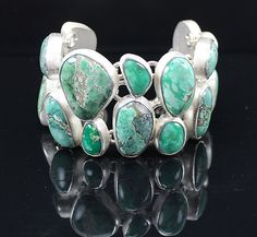 North American Turquoise Bracelet in Sterling Silver: Pamela Huizenga: Silver & Stone Bracelet - Artful Home