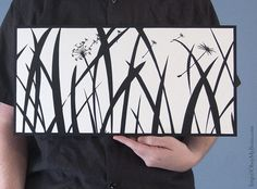 Tall Grass  Hand Cut Paper Silhouette 10x20 by ObeyMyBrain on Etsy, $120.00