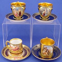 royal vienna cup and saucer | 1340: 4 PC ROYAL VIENNA & DRESDEN CUPS SAUCERS