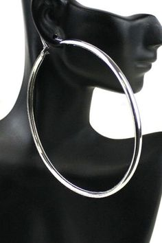 New Extra Large Thick Band Clic Urban Polished Silver Tone Hoop Earrings