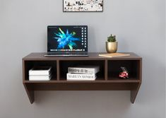 Wall Mounted Computer Desk, Wall Desk, Desk Storage, Storage Spaces, Marilyn Monroe, Space Saving Desk, Home Office Furniture Sets, Empty Wall Spaces, Floating Desk