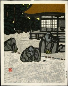 Modern Printmakers: Zen perspectives: Okiie Hashimoto - He graduated from Tokyo School of Fine Art in 1924 with a training in Western oil painting. He did also study for a short while with the printmaker Haratsuka Un'ichi but it wasn't until the 1930's that he began to make woodblocks in any great number