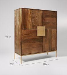Banner cabinet Mango Wood and Antique Brass Sideboard Furniture, Art Deco Furniture, Cool Furniture, Modern Furniture, Furniture Design, Credenza, Mid Century Cabinet, Classy Living Room, Modern Home Bar