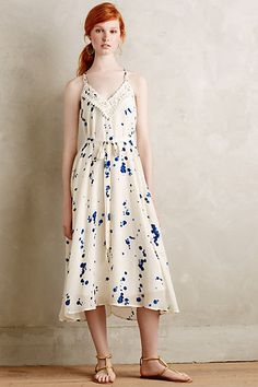 Anthropologie EU Ink Droplets Maxi Dress