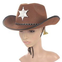 new  brown  sheriff  cowboy  hat  felt  costume  star  badge  halloween