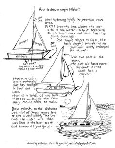 How to Draw Worksheets for The Young Artist: How to Draw A Sailboat Printable Worksheet