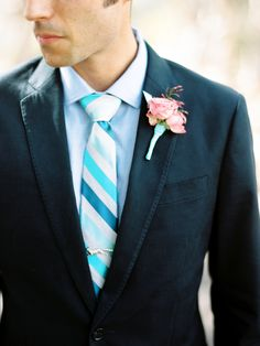Shannon Leahy Events - Carnival Inspired Wedding - San Rafael - Groom - Suit - Blue Striped Tie - Boutonniere