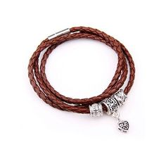 Faux Leather Heart Charm Wrap Bracelet Brown (1.602 KWD) ❤ liked on Polyvore featuring jewelry, bracelets, twinkledeals, charm bangles, brown bangles, wrap bracelet, heart jewellery and heart charm
