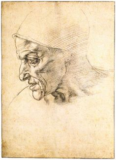 MICHELANGELO Buonarroti - Study for the Head of the Cumeaen Sibyl (recto), 1508-10, Black chalk, 320 x 228 mm, Biblioteca Reale, Turin