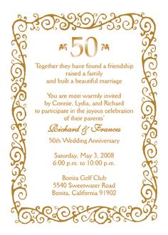 Really classy party invites for 50th golden wedding anniversary 50th anniversary invitations google search stopboris Image collections