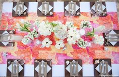 orange and coral table runner