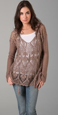 Cute crochet hooded sweater.