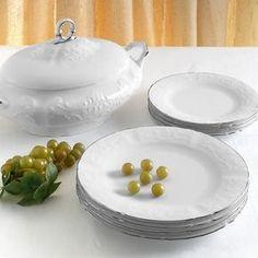 Σετ πιάτων 72 τεμαχίων από λευκή ανάγλυφη ευρωπαϊκή πορσελάνη με γείσο από πλατίνα