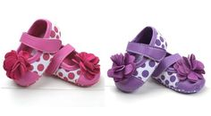 New Baby Girls Infant Toddler Soft Sole Flower Dots Mary Jane Shoes 0-18 Months #MaryJanes