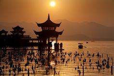 Sunset at West Lake in Hangzhou, China