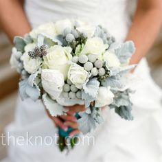 White Wedding Bouquet  wintery mix of roses, peonies, gray berries and baby pinecones.