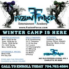 WINTER DANCE CAMP IS HERE! Visit www.FuzionForce.com Dance Camp, Hip Hop Dance, Winter Camping, Flyers, Music Artists, My Music, Competition, Acting, Entertainment