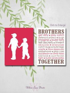 BOYS 8x10 PRINT, Choose your colors!! Brothers wall art boys bedroom decor. #kidswallart #boysquotes #brothersquotes #brothersroomdecor