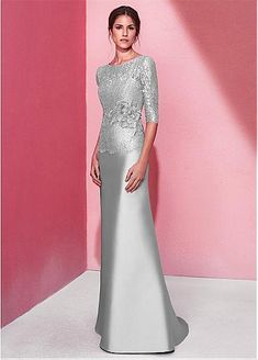 Eye-catching Lace & Satin Jewel Neckline Half Sleeves Sheath / Column Evening Dress With Handmade Flowers With Rhinestones Lace & Satin Jewel Ausschnitt Halbarm Mantel / Spalte Abendkleid Mother Of The Bride Dresses Long, Mother Of Bride Outfits, Mothers Dresses, Long Mothers Dress, Mob Dresses, Event Dresses, Bridesmaid Dresses, Formal Dresses, Wedding Dresses